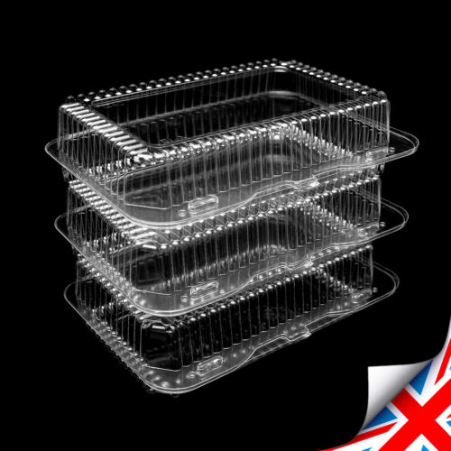 205 x 100 x 45mm NEW Plastic Disposable Clear Boxes For Food Cake Size K40