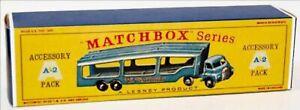 Matchbox-Lesney-A-2-BEDFORD-CAR-TRANSPORTER-LIGHT-empty-Repro-D-style-Box