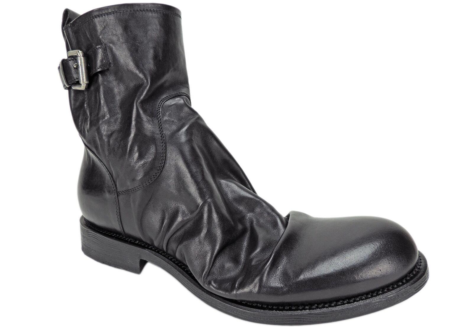 Raparo Men's Canguro black Washed Buckle Boots Black Wrinkled Leather Size 9.5 M