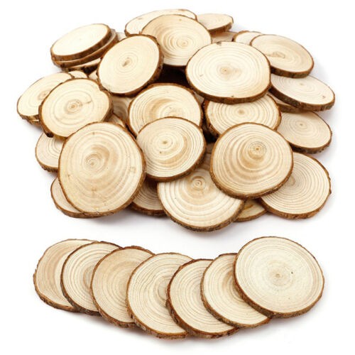 50pcs 4Size DIY Rustic Natural Round Wood Pine Tree Slice Disc Wedding Decor