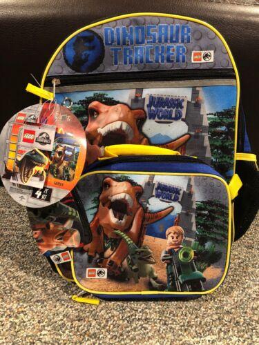 "LEGO Jurassic World Raptor DINOSAUR 16/"" School Backpack  Lunch Box  Pencil Case"