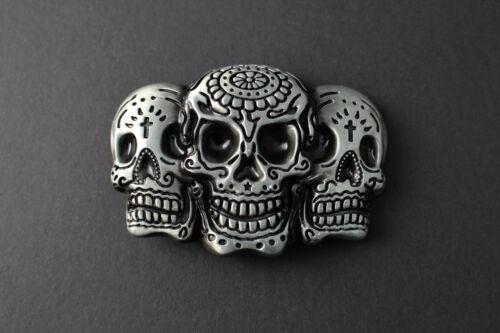3 DAY OF THE DEAD SKULL IN ONE METAL BELT BUCKLE GREY /& DARK BLACK