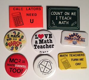 Math-Teacher-Pins-Lot-of-8-Vintage-Pinbacks-Teacher-School-Gifts
