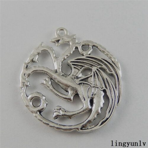 Antiqued Silver Alloy Fly Dragon Craft Pendant Findings 34x32x3mm Lot of x10