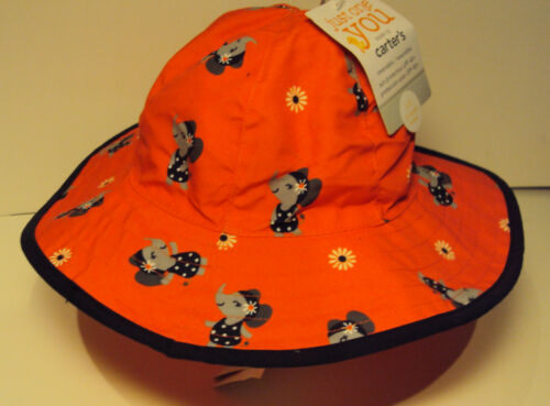Infant Girls Carters Brand Red Polkado Elephant Sun Swim Reversible Hat S M