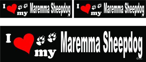 3 I love my Maremma Sheepdog dog bumper vinyl stickers decals 1 large 2 small