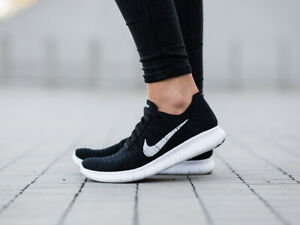 the best attitude e8063 a60dd Details about Nike Free RN Flyknit Women's Black White Athletic 831070-001  Training Rare