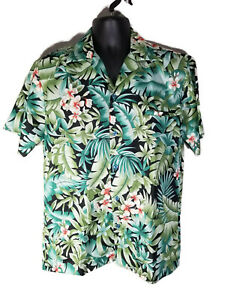 Hilo-Hattie-Mens-100-Polyester-Hawaiian-Shirt-Green-Floral-Tropical-Size-M