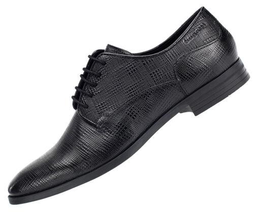 46 Bugatti Herren Leder Schuhe Schnürer Business Halbschuhe Schwarz 18004 Gr