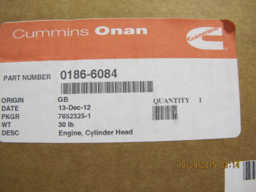 ONAN 186-6084 CYLINDER HEAD for DN2M ONAN or LPW2 LISTER PETTER MEP Generator