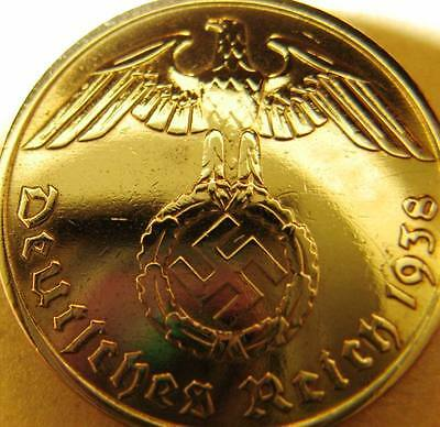 Nazi German 10 Reichspfennig 1938-E Genuine Coin Third Reich EAGLE SWASTIKA RARE