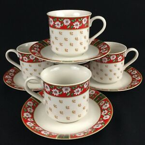 Set-of-4-VTG-Cups-and-Saucers-by-Kobe-Charlton-Hall-Christmas-White-Floral-Japan