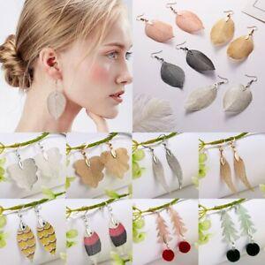 Hollow-Rearl-Nature-Leaf-Earrings-Tree-Wing-Women-Ear-Hook-Drop-Dangle-Jewelry