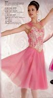 Lt Pink Lyrical Chiffon Dress Flyer Straps Rosette Bodice Gold Trim