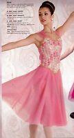 Lt Pink Lyrical Chiffon Dress Flyer Straps Rosette Bodice Gold Trim