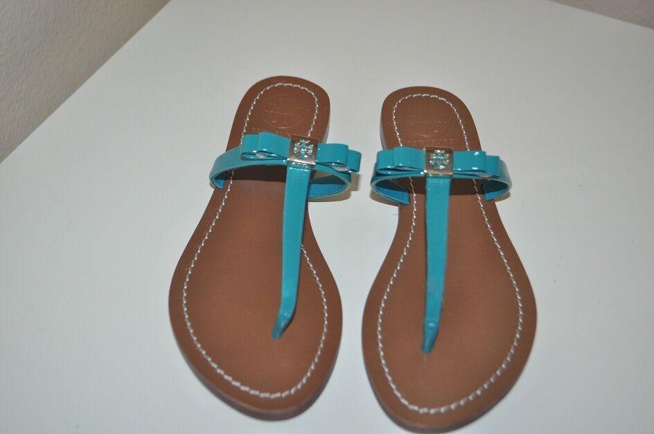 NWOT 8.5 Tory Burch Leighanne Thong Sandal Aquarius Aqua Green blueE BOW shoes
