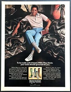 1973-SF-Giants-Baseball-Legend-Willie-Mays-photo-Esquire-Socks-vintage-print-ad