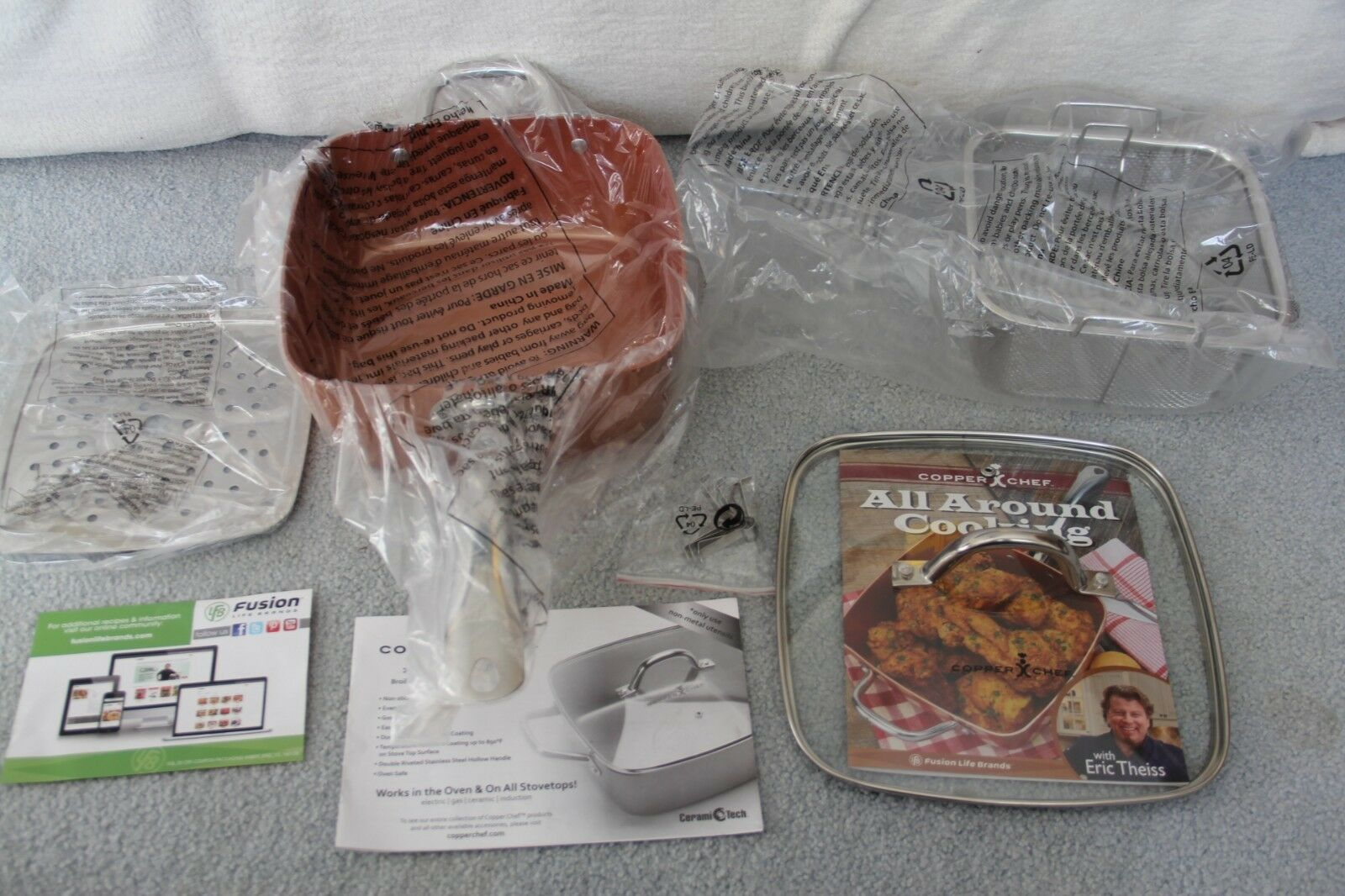 Nouveau Cuivre chef 5 Pièces 9.5 in (environ 24.13 cm) Square Deep Fry Pan Set couvercle Kitchen Cookware