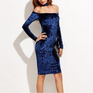 lowest price 36985 5e02a Dettagli su Elegante raffinato vestito abito donna tubino lungo manica  velluto blu slim 3518
