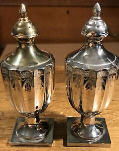 Heavy Silver Plate Salt Pepper Shaker Set Marked Godinger Silver Art Co Ltd Ebay