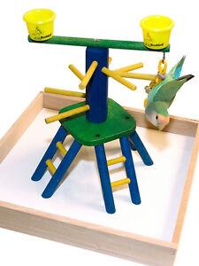 Parrot Perch Pet Bird Perch Play Gym Stand Table Top Pyramid Perch