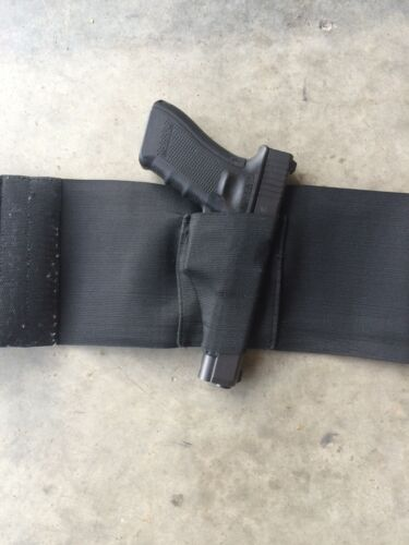 TACTICAL ADJUSTABLE BELLY BAND WAIST PISTOL GUN HOLSTER /& 2 MAG POUCHES LARGE