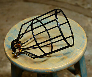 Black-Bulb-Guard-Clamp-On-Lamp-Squirrel-Cage-Vintage-Trouble-Lights-Industrial