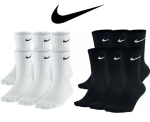 Representación Clip mariposa gloria  Nike Dri-Fit Cotton Cushioned Crew Socks 1, 3 or 6 PAIRS WHITE, BLACK M. L.  XL   eBay