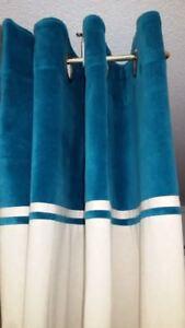 Détails sur Rideau Ywama oeillets parement Bleu canard 140x260 pret à poser