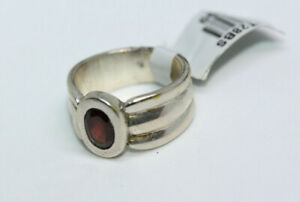 Sterling-Silver-Women-039-s-0-5-CT-Solitaire-Garnet-New-Ladies-Wide-Ring-Sz-5-5-NWT