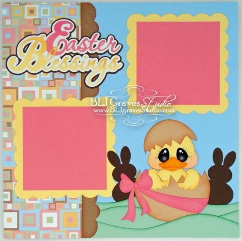 CraftEcafe Premade Scrapbook Page Paper Piecing Easter Boy Girl BLJgraves 27
