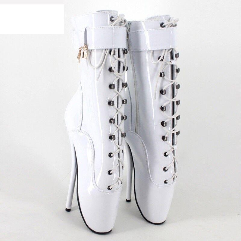 promozioni di squadra PVC Bianco Caviglia Alta Stivali balletto, alta alta alta Guarisce, stivali pony, sexy corsetto avvio,  spedizione gratuita