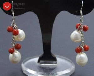 10-11mm-Rice-White-Natural-Pearl-amp-5-6mm-Red-Coral-Dangle-Earring-for-Women-552