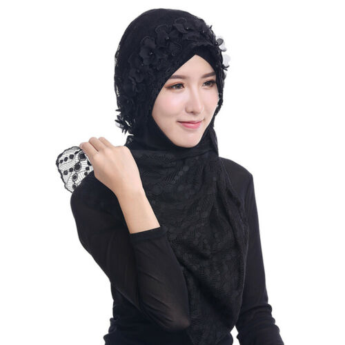 New Ladies Lace Flower Arab Muslim Hijab Shawl Scarves Head Wrap Soft Long Scarf