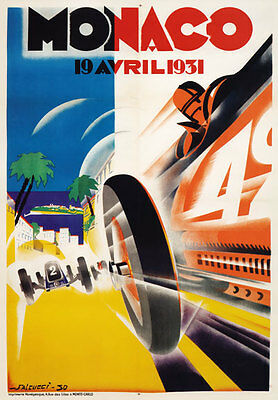 AV32 Vintage 1931 Monaco Grand Prix Motor Racing Poster Print A1 A2 A3