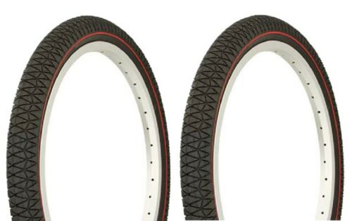 """Two 2 Tires 20 x 1.95/"""" BMX BIKE BICYCLE DURO TIREs Black//Red Side Line"""