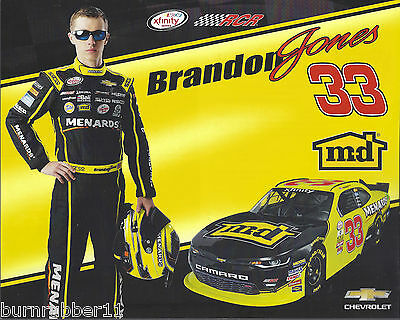 "2015 BRANDON JONES /""TIDE CHEVY CAMARO/"" #33 NASCAR XFINITY POSTCARD"