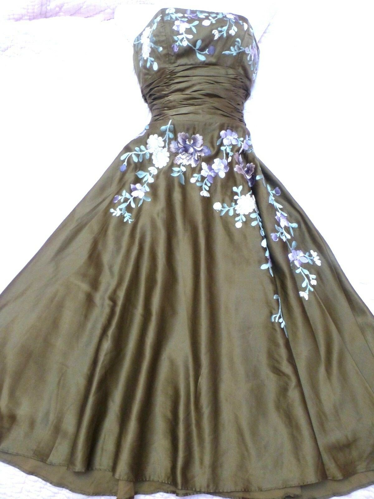 Monsoon silk embroidered 1950;s style dress 8 prom ball party
