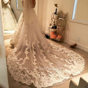 Cathedral-Wedding-Bride-Veils-1T-Appliques-With-Comb-Bridal-White-Ivory-Lace