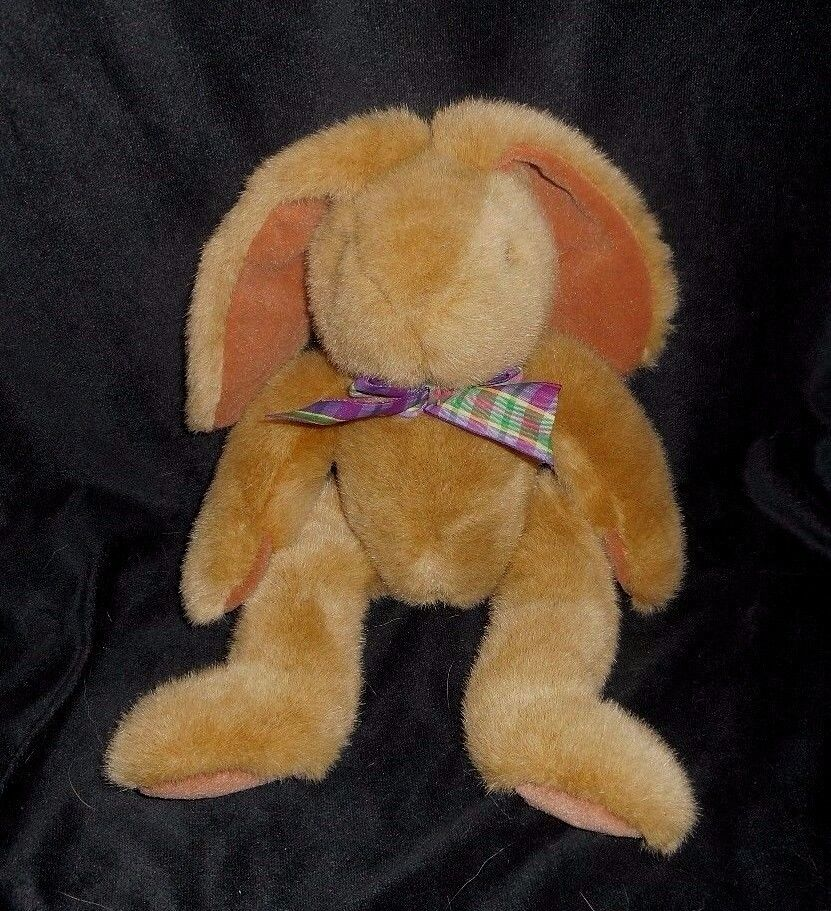 16  VINTAGE FTD BROWN EASTER BUNNY RABBIT STUFFED ANIMAL PLUSH TOY W  PLAID BOW