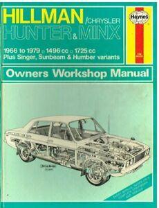 HILLMAN HUNTER SINGER GAZELLE SUNBEAM VOGUE HUMBER SCEPTRE 1966-79 REPAIR MANUAL