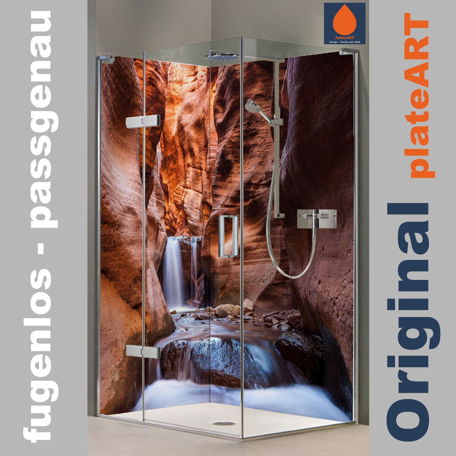 Eck Duschrückwand Rückwand Dusche Alu, Fliesenersatz, Zion - Wasserfall