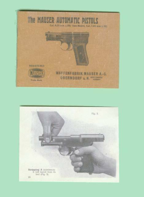 Mauser Model Automatic Pistol 1912 1914 Owners Manual Reproduction
