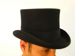 hommes feutre laine chapeau haut de forme noir habill. Black Bedroom Furniture Sets. Home Design Ideas