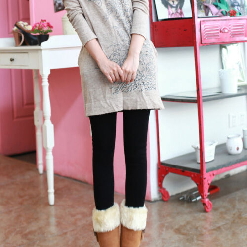 Womens Girl Knit Thigh Stretchy Leggings Winter Thermal Stockings Pants Trousers