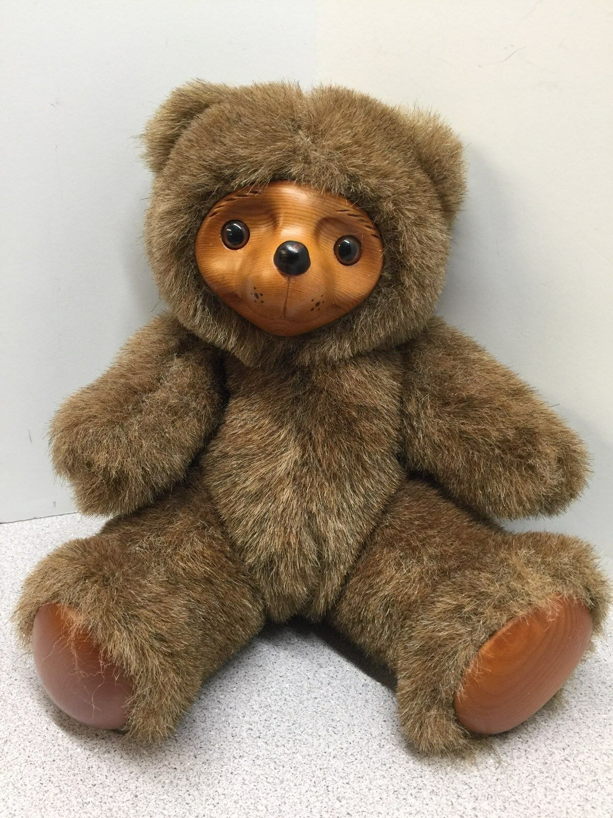 Precious Raikes Bear with Wooden Face and Foot Pads - 12  Robert Raikes Original