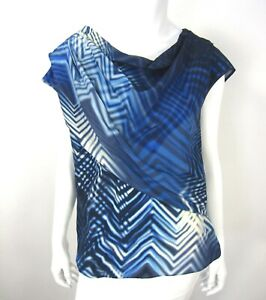 Boss-Hugo-Boss-Short-sleeve-100-Silk-Cowl-Neck-blouse-Top-Size-8-Blue