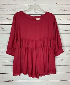 Entro-Boutique-Women-039-s-S-Small-Red-Ruffle-3-4-Sleeves-Cute-Fall-Top-Tunic-Blouse