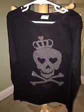 Girls Zara Kids Black Skull & Cross Bones Queen Of Rock Shirt Top Bling 13 14