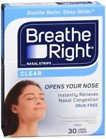 Breathe Right Nasal Strips Clear Large 30 Each (pack Of 2) on sale